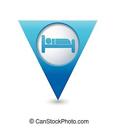 Blue map pointer with hotel icon