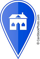 Blue map pointer with house. Vector illustration
