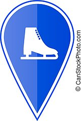 Blue map pointer with ice skate. Vector illustration