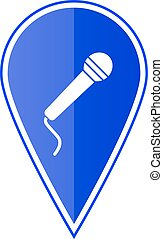 Blue map pointer with microphone. Vector illustration