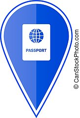 Blue map pointer with passport. Vector illustration