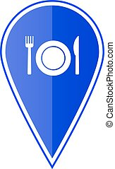 Blue map pointer with restaurant icon. Vector illustration