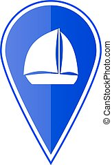 Blue map pointer with sailing boat. Vector illustration