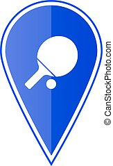 Blue map pointer with table tennis. Vector illustration