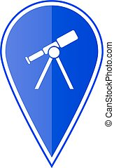 Blue map pointer with telescope. Vector illustration