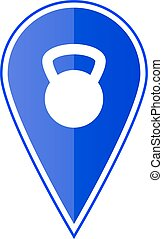 Blue map pointer with weight. Vector illustration