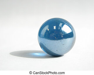 Blue marble on white background.