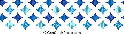 Blue marble tiles horizontal border seamless pattern background