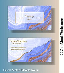 Blue marble with gold. Vector business card template with abstract marble stone background. Natural stone texture.
