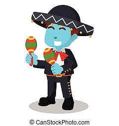 Blue mariachi hold maracas