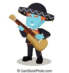 Blue mariachi playing guitar