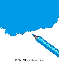 Blue marker pen spot isolated on a white background....
