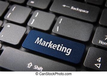 Blue marketing keyboard key, business background