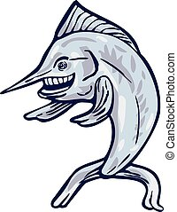 Blue Marlin Fish Isolated Cartoon