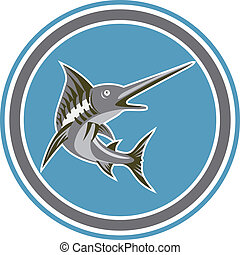 Blue Marlin Fish Jumping Circle Retro