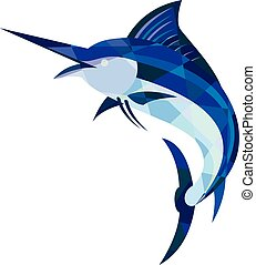 Blue Marlin Fish Jumping Low Polygon