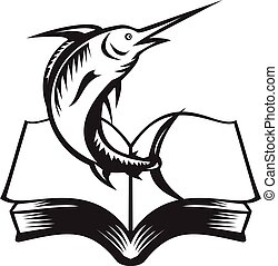 Blue Marlin Fish Jumping Out of Book Woodcut Retro Black and White