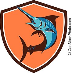 Blue Marlin Fish Jumping Shield Retro