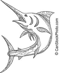 Blue-marlin-jumping-DOODLE