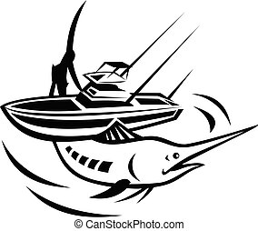 Blue Marlin Jumping With Charter Fishing Boat Retro Black ...