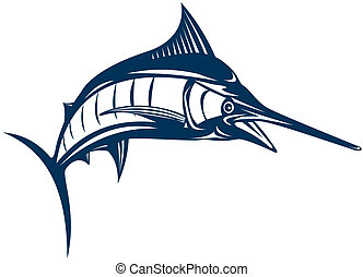 Blue marlin - Illustration of a blue marlin isolated on...