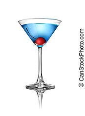 Blue martini cocktail isolated on white