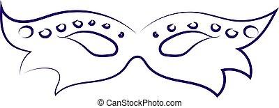 Blue mask drawing, illustration, vector on white background.