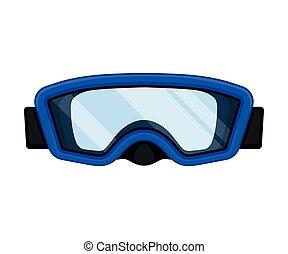 Blue mask for swimming. Vector illustration on white background.