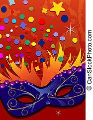 Blue mask orange background