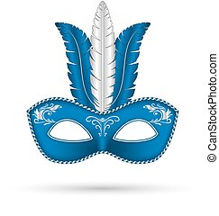 blue mask with feathers