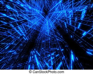 blue matrix - 3d rendered illustration of an abstract blue...