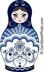 Blue Matryoshka Doll - Decorative matryoshka doll with folk...