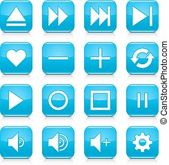 Blue media sign rounded square icon web button