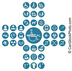 Blue Medical and health care Icon collection