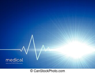 blue medical background with electrocardiogram