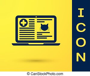 Blue Medical clinical record cat on laptop icon isolated on yellow background. Health insurance form. Prescription, medical check marks report. Vector Illustration