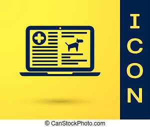 Blue Medical clinical record dog on laptop icon isolated on yellow background. Health insurance form. Prescription, medical check marks report. Vector Illustration