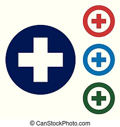 Blue Medical cross in circle icon isolated on white background. First aid medical symbol. Set color icon in circle buttons. Vector Illustration
