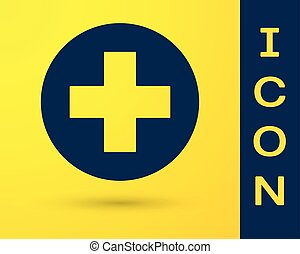 Blue Medical cross in circle icon isolated on yellow background. First aid medical symbol. Vector Illustration
