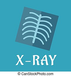 Blue medical flat x-ray icon with spine and ribs for...