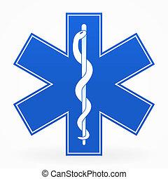 Blue Medical Sign - Blue Healthcare Illustration with snake...