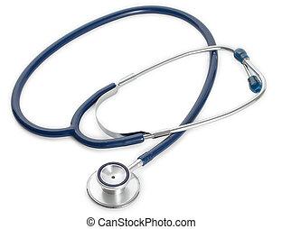 Blue medical stethoscope isolated on white background