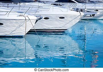 blue mediterranean sea water in marina port of Spain