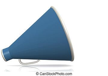 Blue megaphone isolated on white background