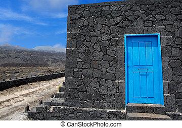 blue megkövez, ajtó, á-hang, fal, láva, palma, kőművesség