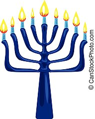 Blue menorah icon, cartoon style