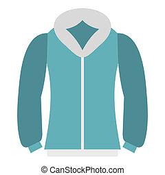 Blue mens winter jacket icon, flat style