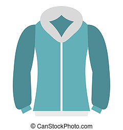 Blue mens winter jacket icon, flat style