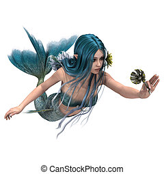Blue Mermaid holding Sea Lily