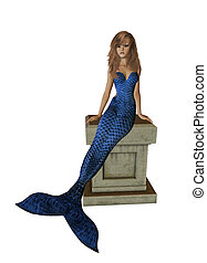 Blue Mermaid Sitting On A Pedestal - Blue mermaid sitting on...